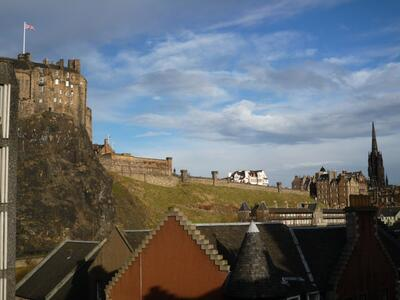View of Edinburgh Castle esplanade from the living-room window